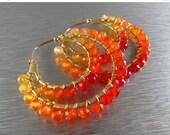 25% Off Summer Sale Shaded Carnelian Double Hoop Earrings