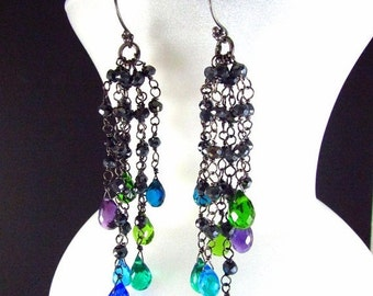 20 % Off Colorful Quartz, Amethyst and Pyrite Wire Wrapped Oxidized Dangle Cluster Earrings