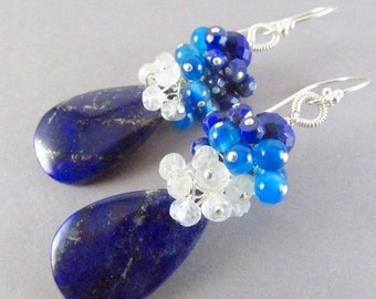 BIGGEST SALE EVER Lapis Lazuli and Sterling Silver Cluster Earrings
