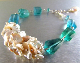 BIGGEST SALE EVER Keishi Pearl and Fluorite Nugget Sterling Silver Bracelet