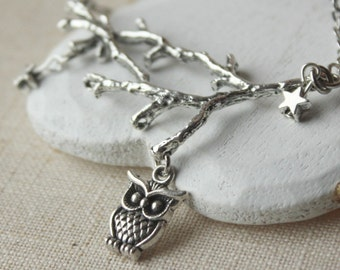 Owl Necklace Owl on a branch pendant owl jewelry antique silver owl and stars on a branch and owl necklace bird on a branch necklace N95