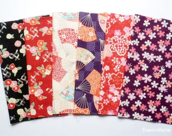Scrap / Japanese Fabric - Kimono Print 6 pieces (857)
