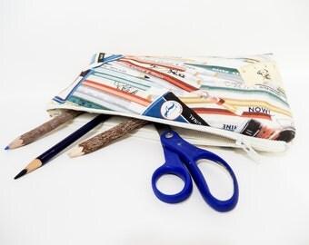 Pencil Case, Pencil Pouch, Medium Zipper Pouch, Back to School Supply, Pouch, Retro School Supplies, Zipper Case, Fabric Zipper Pouch, Pouch