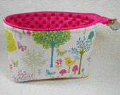 Open Wide Flat Bottom Zipper Pouch...Flo's Garden in Bright
