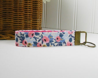 Key Fob Wristlet, Fabric Key Chain, Wrist Key Chain ..Les Fleurs Rosa in Periwinkle, Rifle Paper Co