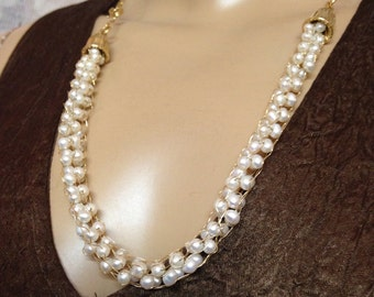 Crochet Gold necklace white pearls-Bridal Handmade-knitted gold necklace