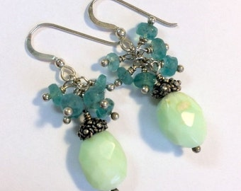 60% FLASH SALE Aqua Green Cluster Earring Chrysoprase Aqua Apatite Gemstone Wire Wrapped Cluster Rustic Nugget Earrings, Sterling Silver