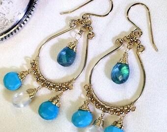 30% SALE Gemstone Hoop Earring Gold Chandelier Earrings, Moonstone, Arizona Turquoise Earrings, Multicolor Wire Wrap  Bohemian Boho Chic Ear