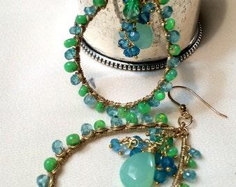 Opal Earrings, Mint Aqua Green Gem Hoop, Wire Wrap Ethiopian Opal, Wire Wrap Aqua Hoop Earrings in Mint Aqua Chalcedony Gold Filled