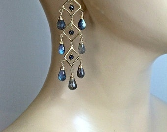 CUPID SALE Luxury Gemstone Chandelier Earrings, Labradorite Earrings,  Wire Wrapped Chandelier Earrings, Gold Chandelier Earrings Blue Flash