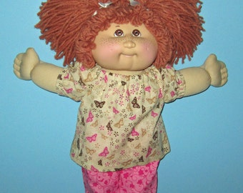 Cabbage Patch, Doll Clothes, Butterfly Top and Capri Set,   Vintage Classic 15 16 Inch Doll Clothes,  CPK