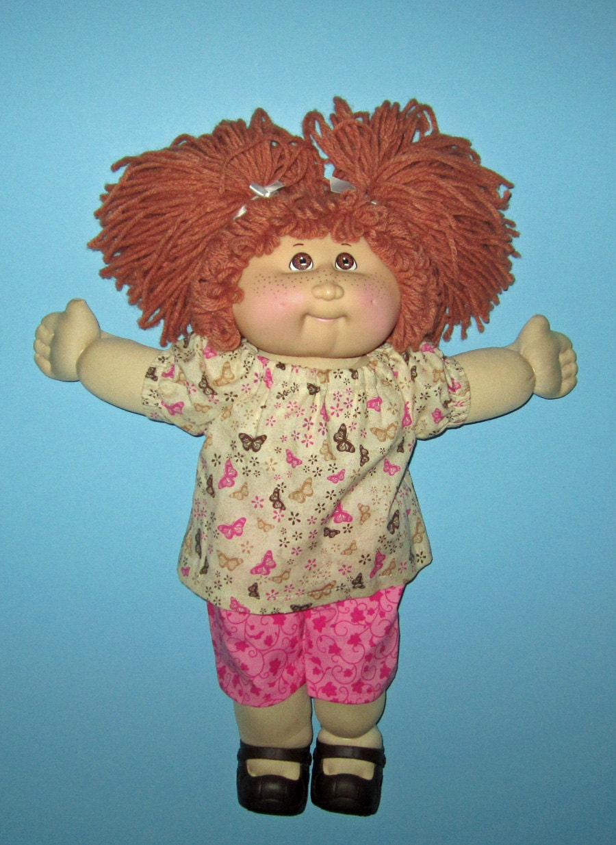 cabbage patch doll clothes butterfly top and set