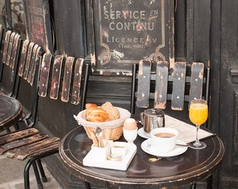 Paris Photography, Parisian morning breakfast, Cafe St Regis, Ile St Louis, Mornings in Paris, French, Kitchen Wall Art