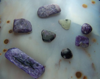 Charoite - purple stone crystals  by the gram  - Tumbled pebble nugget bead supply natural small pieces - lot vial necklace chip crystal