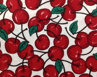 Ships FREE! Cherries on white Cotton Fabric by the 1/2 yd
