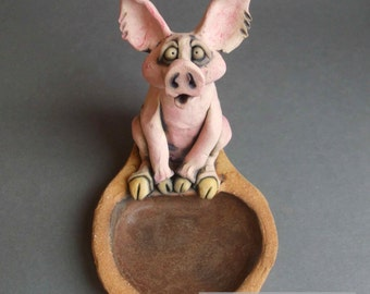 Pink Pig at a Mud Hole Ceramic Animal Sculpture Dish
