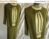 ON SALE Vintage 50's 60s Green Knit 3 Piece Dress Suit by Nita Renati Size S M