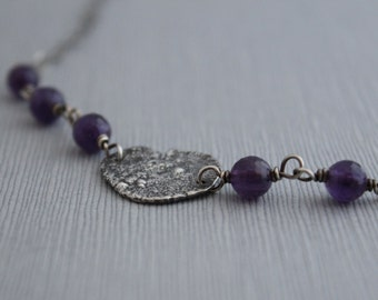 Amethyst Free Form Necklace, Sterling Silver Necklace, Purple Necklace, Organic Silver Necklace, Oxidized Silver Necklace