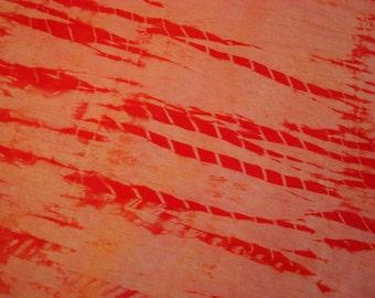 Orange Shibori Silk Fabric, Hand Dyed Hemp Cloth 28 in by 28 in