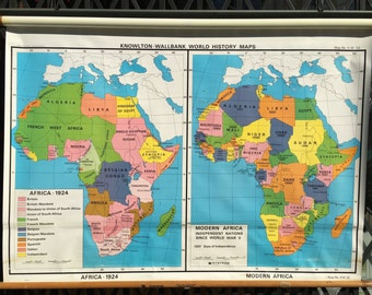 Vintage School History Classroom Map of Africa 1924 and Modern