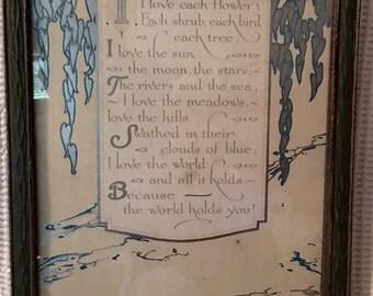 Vintage Framed print  - I Love The World -  framed Art  Poem 1930