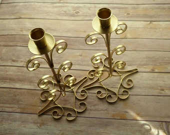 Pair of Gold Metallic Candle Holders