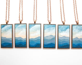 Painted Landscape Pendant - Blue Ridge Mountains (Original Painting Section in Brass or Copper Rectangle Setting)