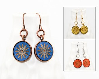 Geometric Starburst Design - Dangle Earrings - Laser Engraved Wood (Choose Your Color)