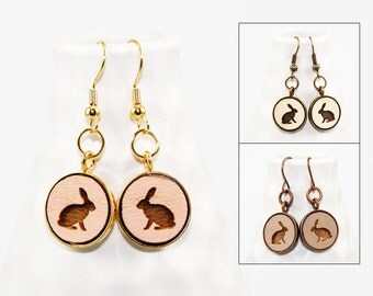 Rabbit Earrings - Laser Engraved Wood (Choose Your Color)