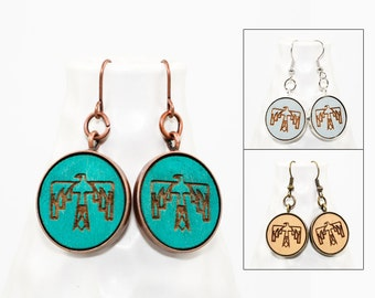 Thunderbird Earrings - Laser Engraved Wood with Mermaid and Anchor Design (Choose Your Color)