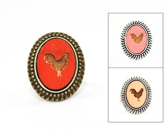 Rooster Ring - Laser Engraved Wood in Adjustable Oval Setting (choose your color / custom made jewelry)
