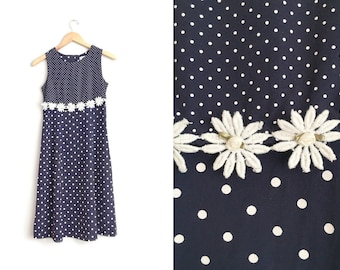 POLKA Dot Midi Dress // Daisy Chain - Sleeveless Sundress - Vintage '90s. Size Youth 14 or Women's XXS/XS.