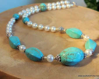 Turquoise and Pearl Necklace, Pearl Jewelry, Handcrafted Jewelry, Gemstone Jewelry, Western Style, Country Wedding
