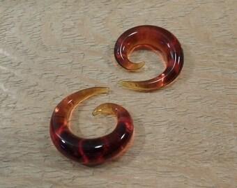 Glass Spiral 00g  amber glass spiral 00 gauge spiral