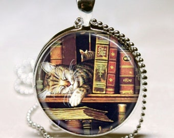 Cat Vintage Library Books Teacher Librarian Book Club Bibliophile Stocking Stuffer Christmas Gift Pendant Charm Necklace
