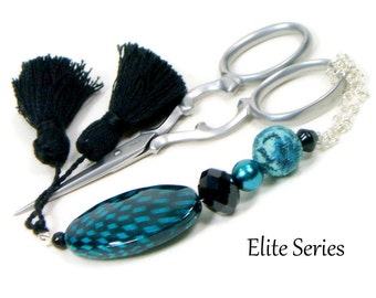 Teal Black Handmade Scissor Fob Beaded OOAK Scissor Minder Scissor Keeper Needlework Accessory Sewing Accessory
