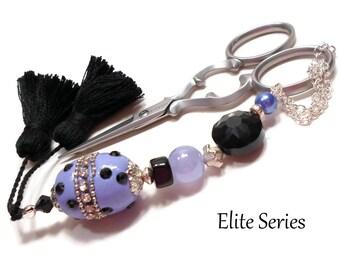 Periwinkle Black Handmade Scissor Fob Beaded OOAK Scissor Minder Scissor Keeper Needlework Accessory Sewing Accessory