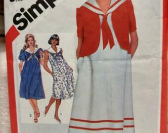 Maternity Dress Sailor Collar & Jacket Simplicity5444 sz 12-14 #A386 FREE SHIPPING