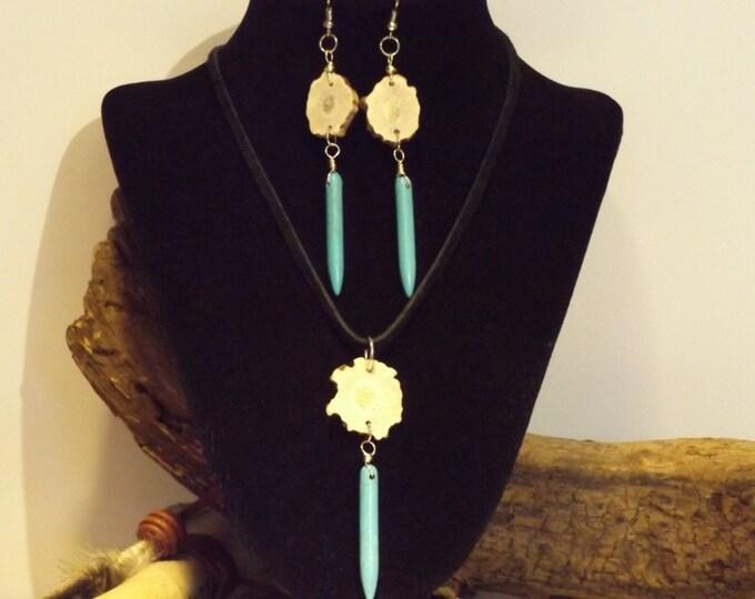 Turquoise Pendulum Spike and Antler  Healing Crystal Jewelry, Healing Jewelry, Healing Crystal and Stones, Tribal Jewelry