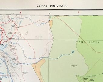 Large Vintage Map of Kenya - Coast Province - 1962 Vintage Map
