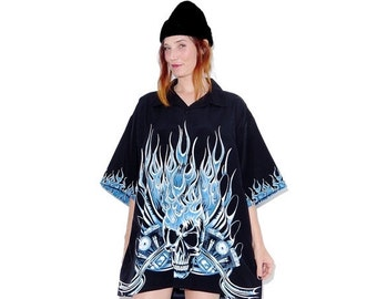 OMG HALF OFF 90s Oversized Flame Shirt xl // menswear oversized boyfriend shirt dress skull and flame dress 90s grunge cyber club kid rave v