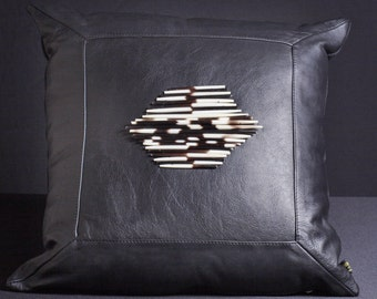 Leather Pillow Porcupine Quills Black