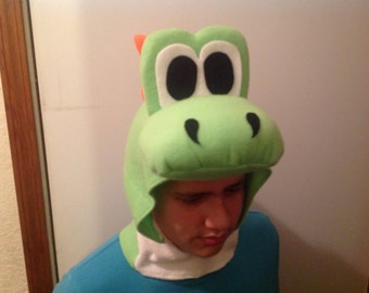 new fleece halloween dinosaur head only costume #3 size L 16-adult with YOSHI EGG goodie bag super mario brothers