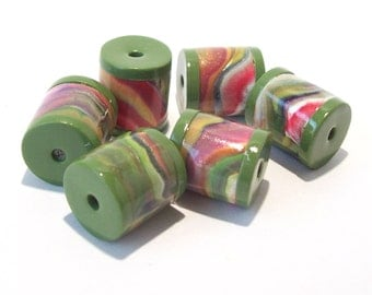 ON SALE NOW Multi Color Tube Beads with Olive Green Ends Handmade from Polymer Clay