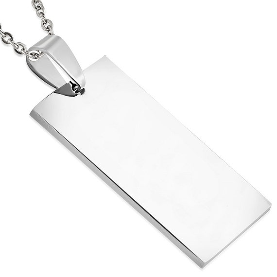 5 Blanks - 20x37mm Stainless Steel Engravable Charm Pendant Tag (1.45 x 0.78 inch) - 316L SURGICAL STEEL