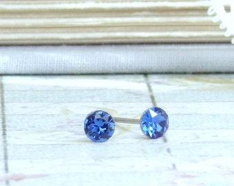 Sapphire Blue Crystal Studs Blue Stud Earrings 4mm Studs Surgical Steel September Birthstone Tiny Studs