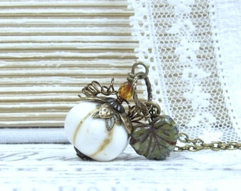 White Pumpkin Pendant Autumn Necklace Pumpkin Necklace Fall Necklace Pumpkin Gift Harvest Necklace