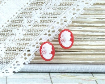 Cameo Earrings Red Earrings Small Stud Earrings Victorian Jewelry Hypoallergnic Cameo Studs
