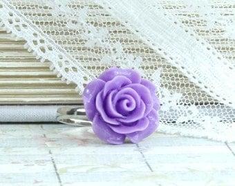 Purple Rose Ring Adjustable Ring Purple Flower Ring Victorian Ring Purple Rose Jewelry Purple Floral Ring