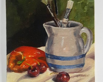 Art Brushes In Pitcher Original Oil Painting Still Life Wall Art 10 x 8